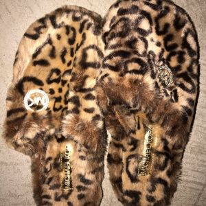 Soft Michael Kors Cheetah print slippers